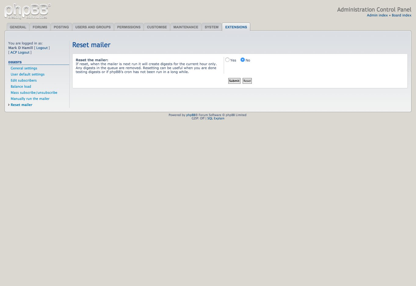 Administration control panel - Reset  mailer (3.2.11)
