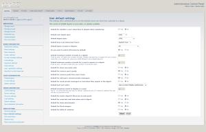 User default settings