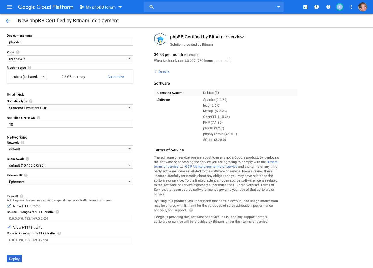 Installing phpBB in the Google Cloud » phpBB Services
