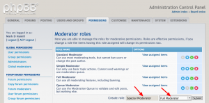 Create new moderator role, screen 1