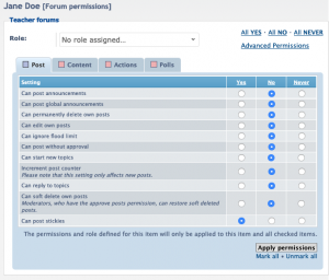 User forum permissions, advanced permissions